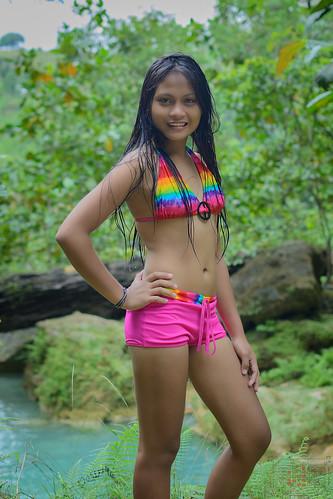 sexy green water girl lady swim pretty falls bikini filipina phl philippinen negrosoccidental oringao