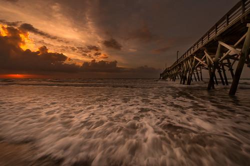 beach sc sunrise pier nikon south carolina hdr surfside d5000