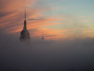 Misty sunset over the Empire State Building | by Paul Kaye
