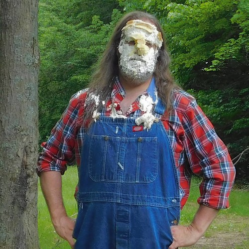 This was a week that just cried out for a pie in the face! #pieintheface #overalls #Dickies #bluedenim #plaid