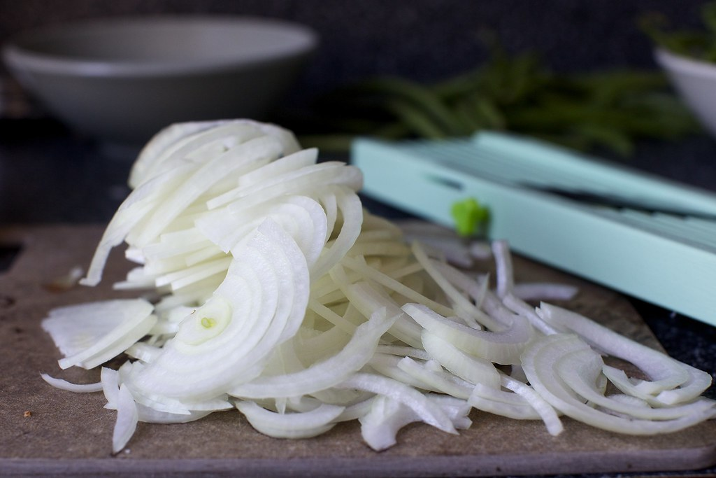 Halved And Thinly Sliced Onion Green Bean Casserole With C