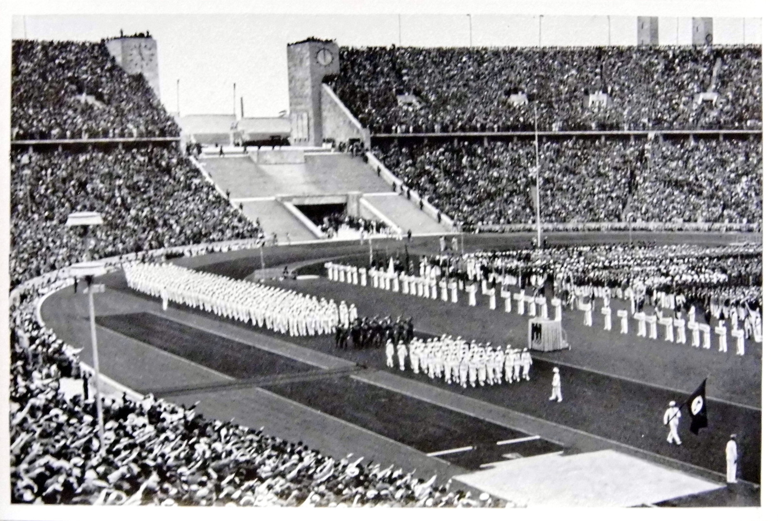 1936 Berlin Olympics Photograph - German Olympic Team Marching in the Olympic Stadium in Berlin