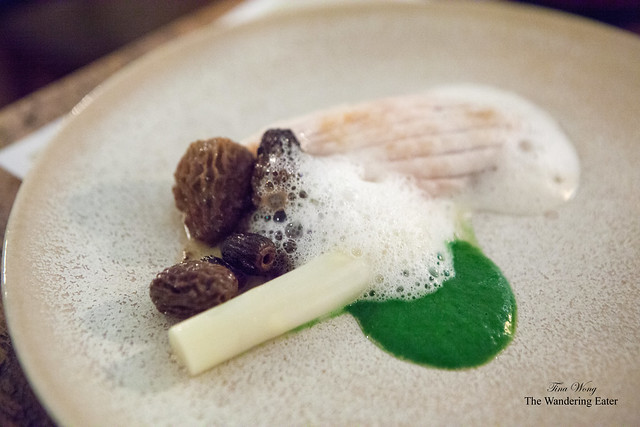 Thornback Ray, white asparagus, fresh early morels with cinnamon & curry leaf