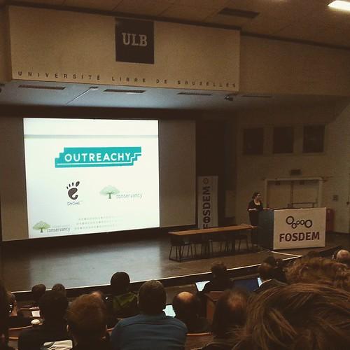 #FOSDEM keynote - Karen Sandler announcing #OUTREACHY