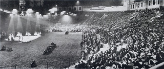 Newspaper clipping showing Alicia Markova and Anton Dolin at the Empress Hall, Earl's Court in 1949 dancing before an audience of 6,000.   by English National Ballet