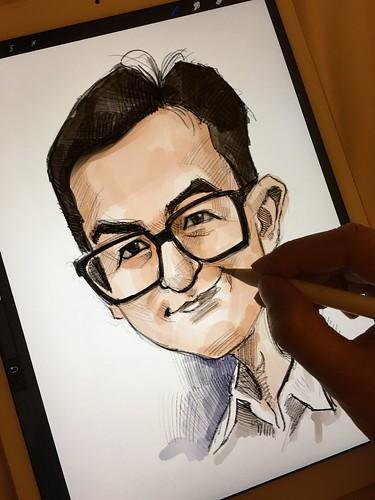 Digital caricature sketch of 馬榮成 on iPad Pro + Apple Pencil in Procreate   by jit@portraitworkshop.com