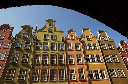 city houses wallpaper facade town arch poland center historic gdansk danzig josefstuefer