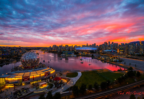 sunset reflection vancouver clouds britishcolumbia falsecreek vancouverbc scienceworld bcplace bcplacestadium telusworldofscience nightlighting cityofvancouver vancouvercity cans2s falsecreekeast tedsphotos