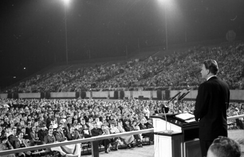 Evangelist Billy Graham speaking at Doak Campbell Stadium in Tallahassee, Florida | by State Library and Archives of Florida