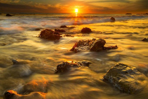 california longexposure sunset seascape beach night gold warm cloudy malibu goldenhour