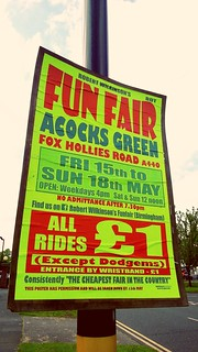 Acocks Green Fun Fair - sign on a lamppost - Fox Hollies Road, Hall Green | by ell brown