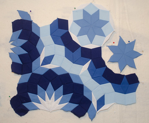 My next test was to see how the seven-pointed star fit. Would it work right? It did. (Once I fixed the piece I sewed in sideways.)