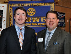 North Raleigh Rotarian Brian Propst (on right) brought a guest to lunch today. His name is Justin Wilson.