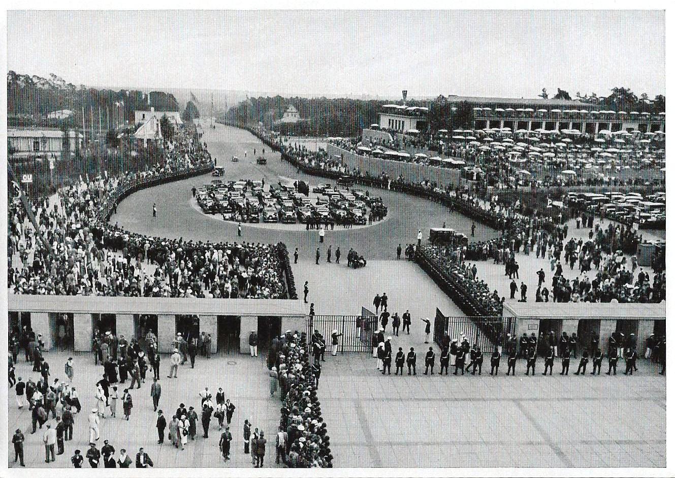 1936 Olympics Photographs - Sammelwerk Nr. 14, Bild Nr. 13, Gruppe 59, Adolf Hilter Enters the South Gate of Olympics Stadium on August 2, 1936