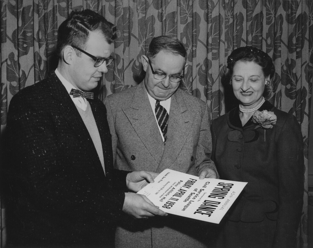 Civil Service League Officials With Poster For Spring Danc