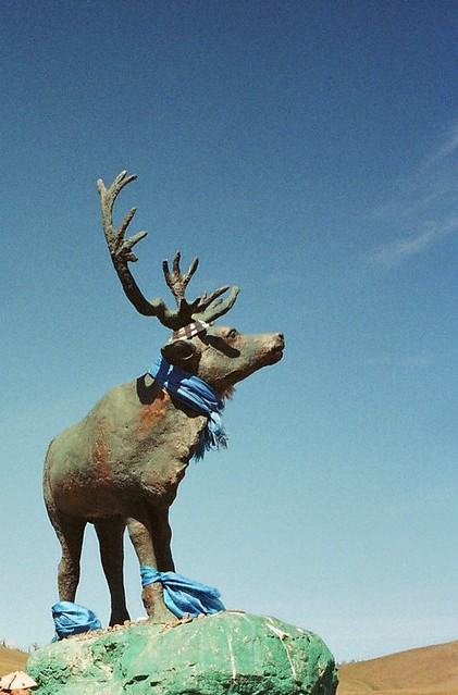Mongolia, reindeer statue