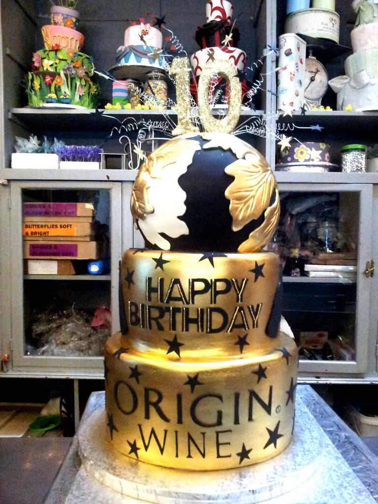 Terrific 3 Tier Origin Wines Themed Birthday Cake With Round Top Ti Flickr Funny Birthday Cards Online Chimdamsfinfo