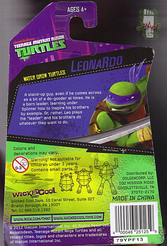 WICKED COOL TOYS :: Nickelodeon TEENAGE MUTANT NINJA TURTLES; 'WATER GROW TURTLES' - LEONARDO iii // ..card backer  (( 2013 )) by tOkKa