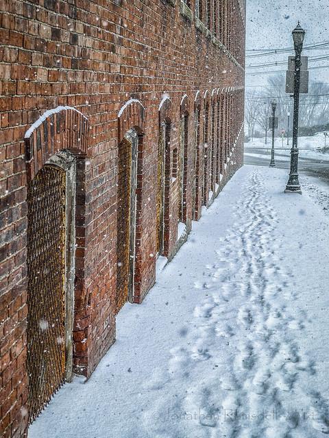 Mill, Sidewalk, and Snow-