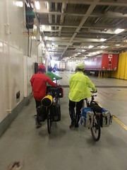 cyclists leaving the ferry