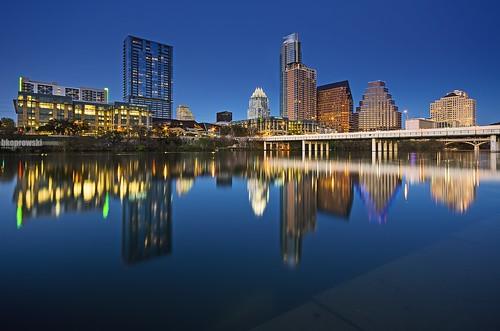 bridge blue usa reflection skyline night austin evening spring texas tx south awesome sigma congress sxsw coloradoriver bluehour avenue thebluehour ladybirdlake pentaxk5 briankoprowski bkoprowski