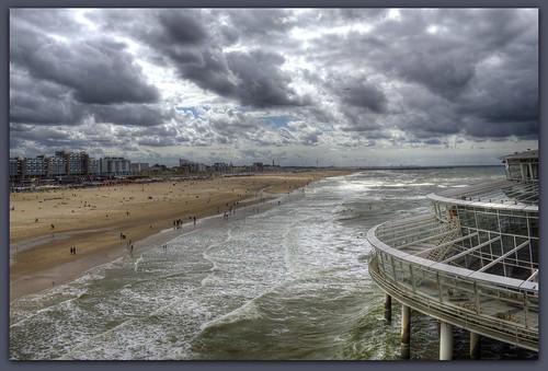 sea sky holland beach clouds landscape scheveningen dramatic tonemapping