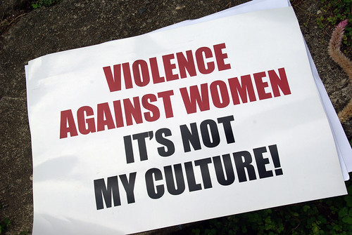 A sign from the Men Against Violence Against Women (MAVAW) project at the Live and Learn Offices. | by DFAT photo library