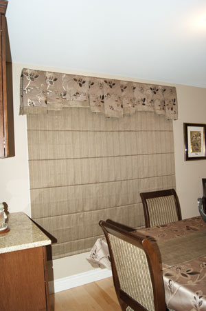 Step Box Pleat Valance and Roman Shade