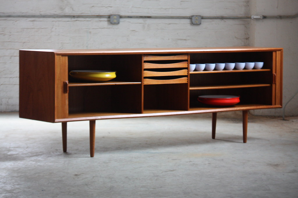 Danish Floating Credenza : Unforgettable danish mid century modern teak tambour door credenza