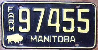 MANITOBA 1958 ---FARM TRUCK , UNDATED FRONT PLATE.