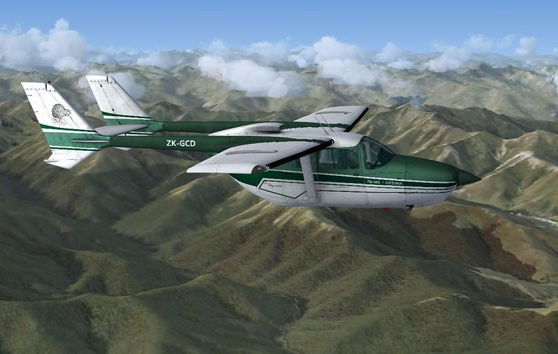 Cessna C337 Skymaster ZK-GCD over Takitumu, SI, NZ