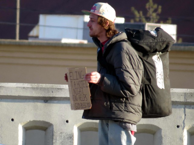 He needs enough money for a night in a hotel.