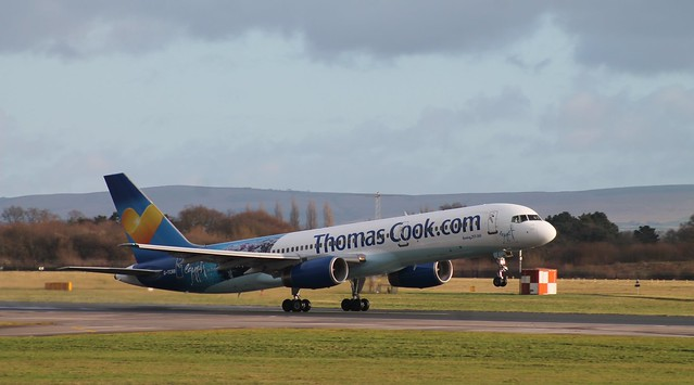 Thomas Cook Airlines Boeing 757-200 departs rwy 23R at Manchester Airport.