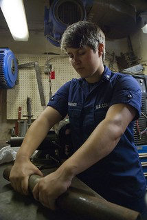 Coast Guard Cutter Oak crewmember builds parts for Dominican Republic patrol boat during Tradewinds 2013