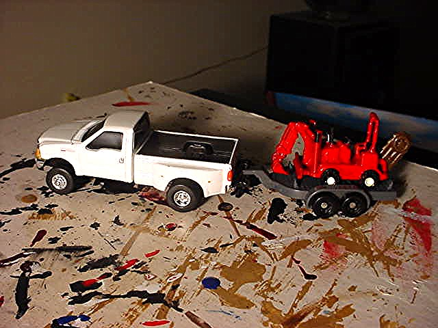 My Ertl Ford F-350 Dually Hauling The Trencher, Shovel Mac