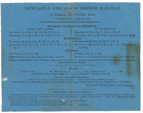 Newcastle and North Shields Railway Timetable 1844 | by ian.dinmore