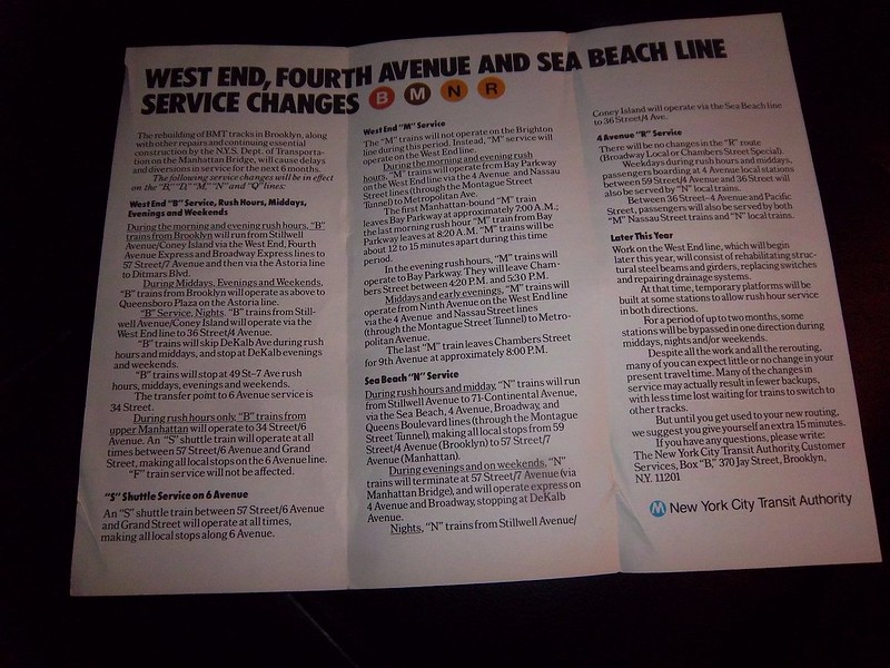 West End, 4 Ave, Sea Beach Line Riders: Your Guide To Service Changes On The B M N R During Rehabilitation Work April 26 Through October 26, 1986