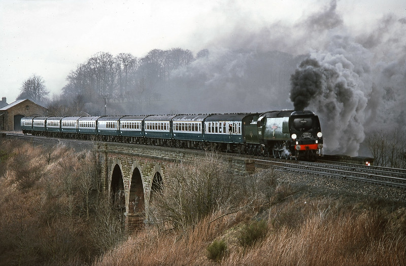 34092 City of Wells at Long Marton on southbound Cumbrian Mountain Pullman. 13 February 1982.