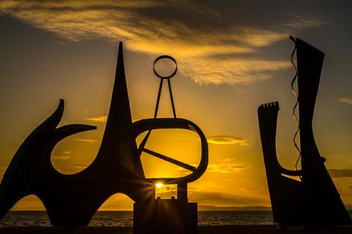 light sunset sky sculpture art weather silhouette clouds landscape golden scotland eastlothian prestonpans