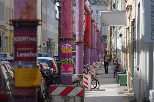 Pink tubes along Auguststraße, Berlin