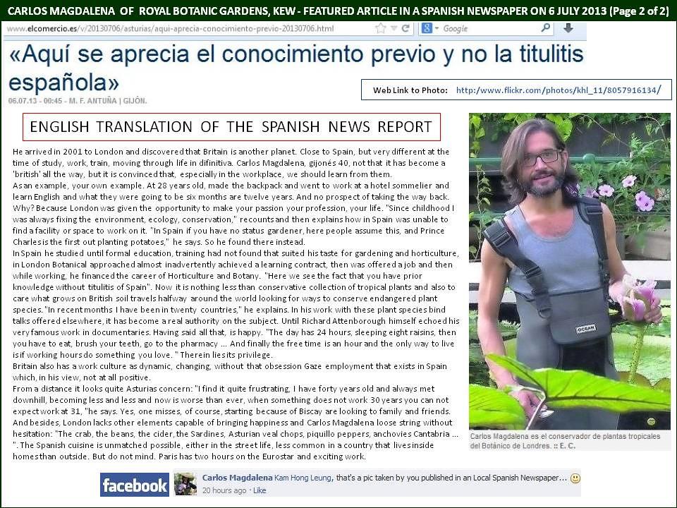 Carlos Magdalena, KEW Gardens - Spanish Newspaper Report o