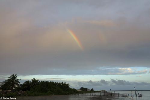 rain sunrise rainbow rainyday suriname leonsberg mudbank surinameriver surinameriverestuary leonsbergpier leonsbergdock