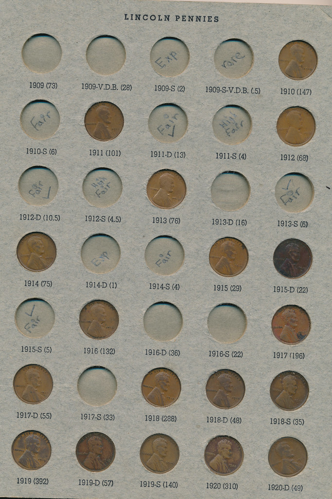 RD2591 Lincoln Cent 1909 - 1973 Album Page 1
