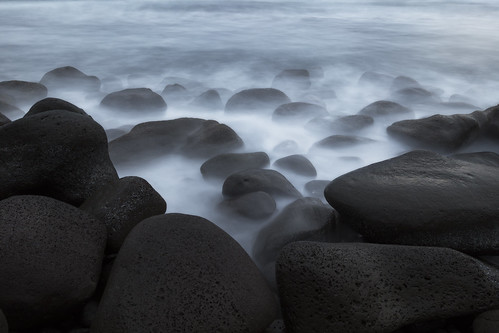bigisland hawaii beach coast forest morning sunrise longexposure ocean water rocks cloudy smooth ghost blacksand lavarock stones sea waves travel pacific tropical island