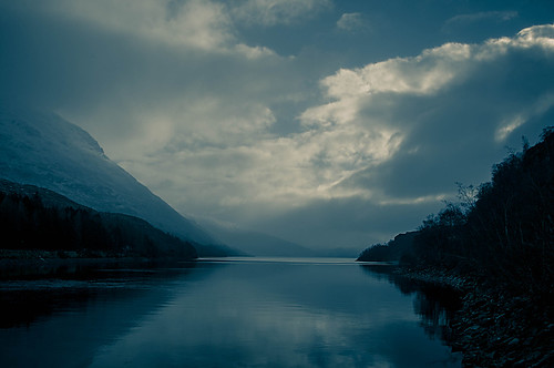 lochtreig mountains loch sky clouds reflections reflection trees tranquil mist fog misty weather highlands scotland pentax landscape
