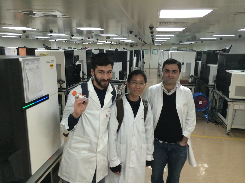 Cesar Harada, Tony Yet, Scott Edmunds at BGI largest DNA sequencing facility in the world!