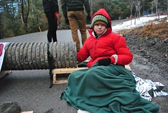 Protester locked to cement pipe 2