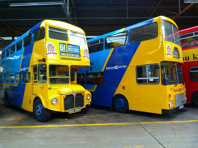 Kelvin Scottish Buses 1929 & 1669 , Bridgeton Bus Garage, Glasgow.