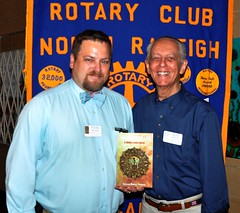 "Past President Steven Baker Nelson with Gene Hirsch who just purchased Steven's first novel.Steven has written and published a mystery novel titled ""The Jade Medallion..A Barry Lynch Novel"""