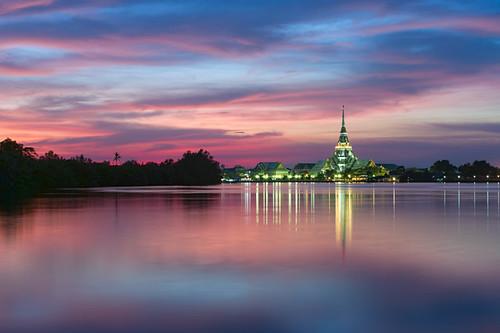 light sky cloud reflection water architecture river thailand temple evening twilight nikon dusk religion culture d3 chachoengsao totallythailand